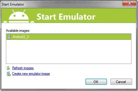 Select an emulator to start or create a new one