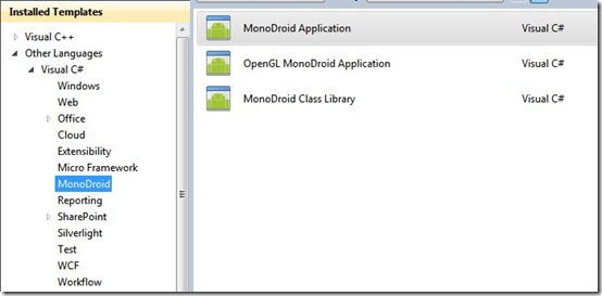 New MonoDroid project in Visual Studio 2010